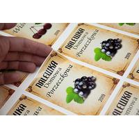 etykiety samoprzylepne na nalewki - czarna porzeczka