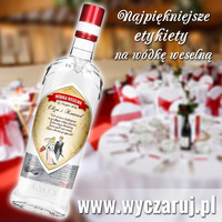 Naklejki na wódkę weselną - etykiety samoprzylepne - Soplica