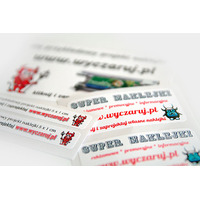 Małe etykiety drukowane z własnym projektem