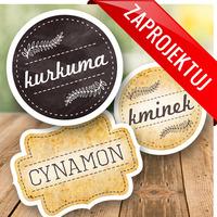 naklejki na przyprawy zestaw kurkuma, cynamon, kminek